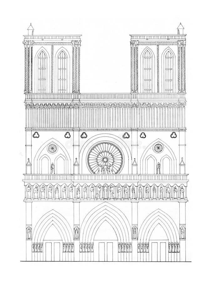 Noter Dam drawing facade vector illustration