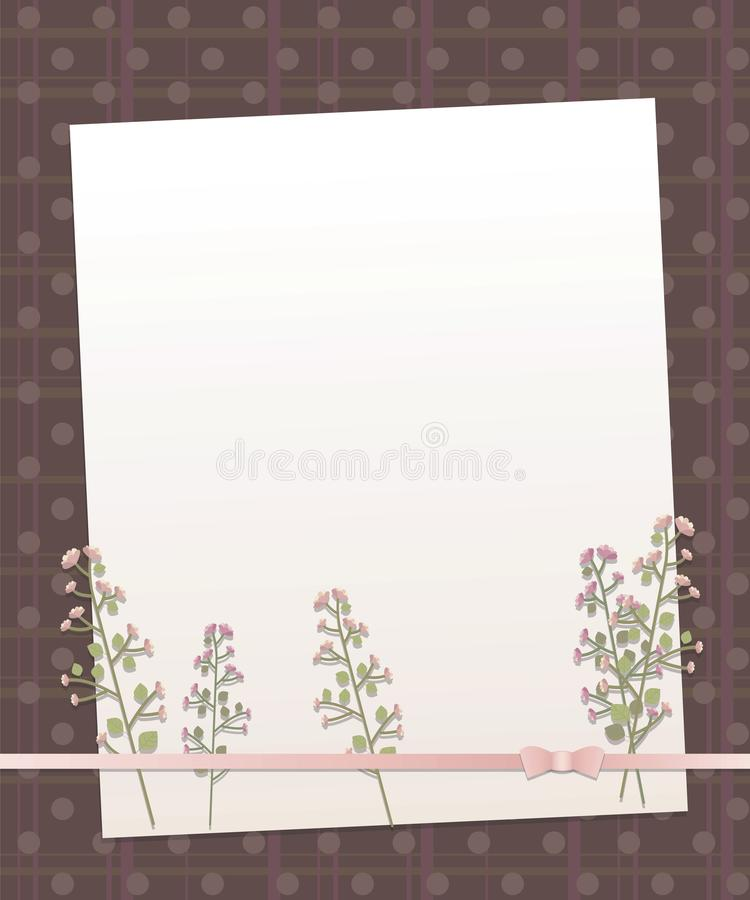 Notera vitbok på en bakgrund för mörk brunt med vertikala och horisontalband och linjen pilbåge t för pärlemor för rundacirklar d stock illustrationer