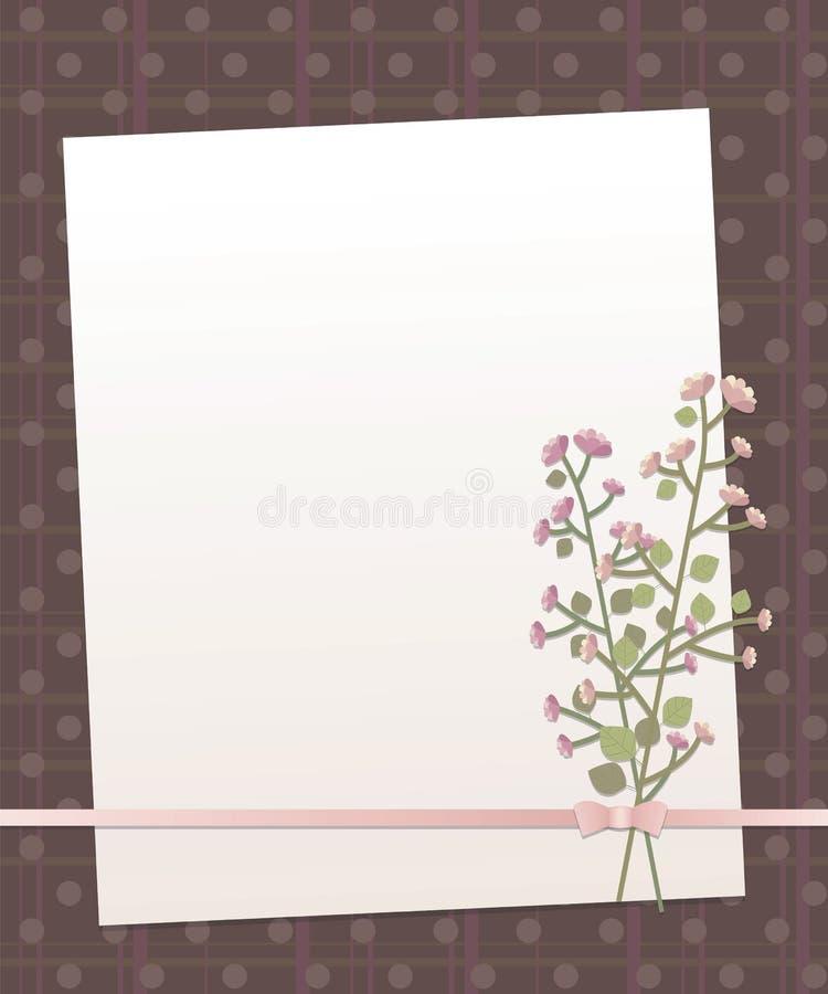 Notera vitbok på en bakgrund för mörk brunt med vertikala och horisontalband och linjen pilbåge w för pärlemor för rundacirklar d vektor illustrationer