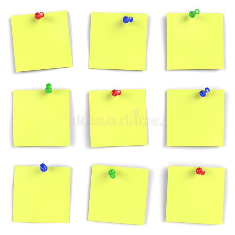 Notes. Vibrant yellow notes with push pins on white board. Computer generated image with multiple clipping paths stock illustration