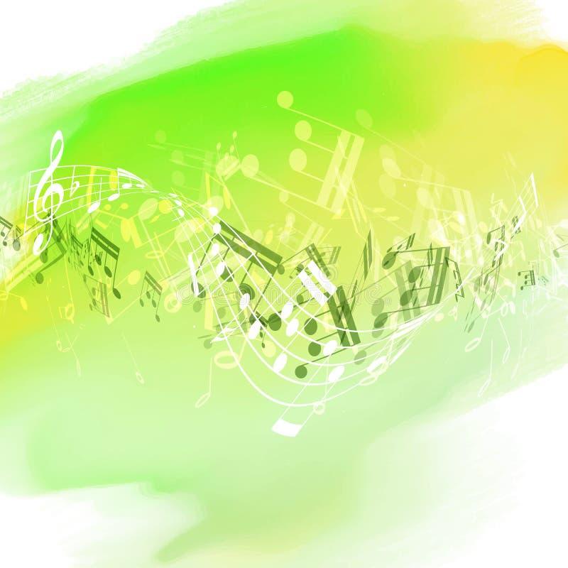 Notes abstraites de musique sur la texture pour aquarelle illustration de vecteur