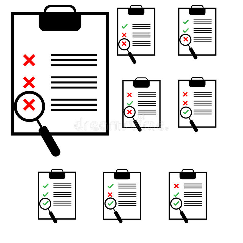 Notes on the black tablet with different colours marks. Notes on the black tablet with different colours marks it is set icons stock illustration