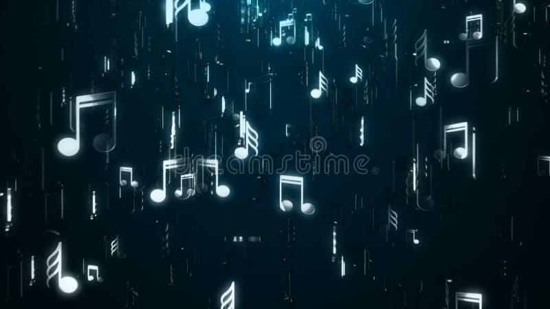 Notes blanches de musique abrégez le fond Illustration de Digital images libres de droits