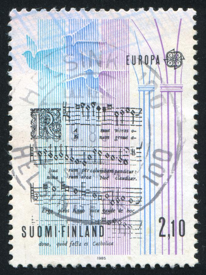 Notes of the Carol. FINLAND - CIRCA 1985: stamp printed by Finland, shows Notes of the Carol, circa 1985 royalty free stock images