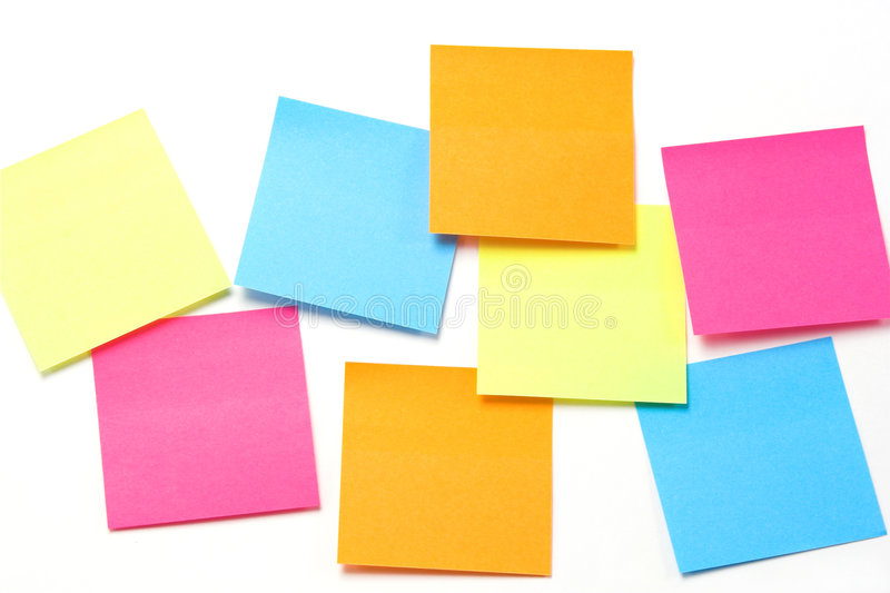 Notes collantes colorées - format horizontal photographie stock libre de droits