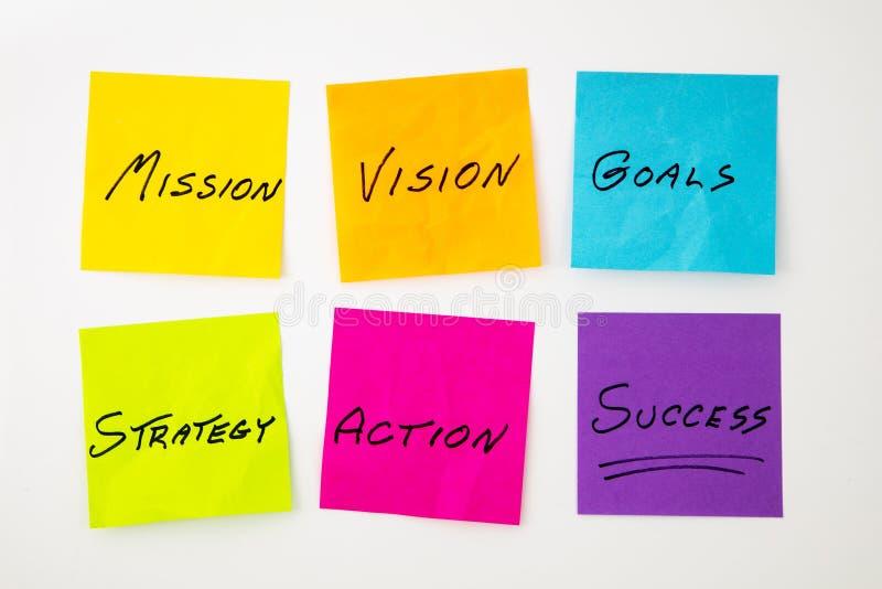 Notes collantes de message de vision de mission photographie stock libre de droits