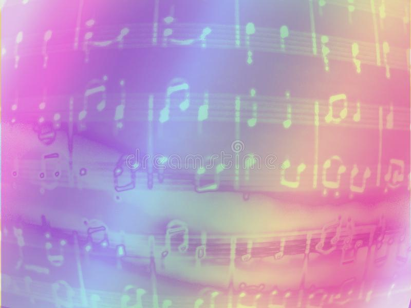 Notes color background.iridescent musical texture stock illustration