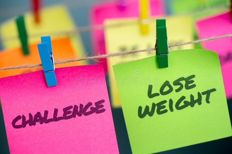 Notes concept for motivation for challenge to lose weight stock photos