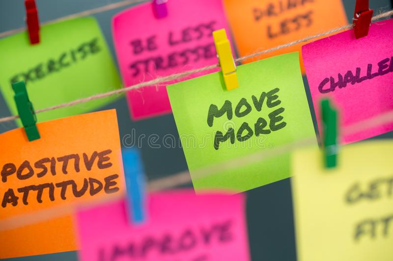 notes concept for motivation for move more to stay healthy or lose weight royalty free stock photo
