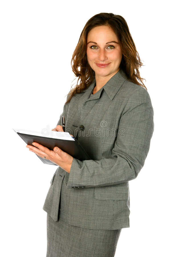 Notes d'écriture de femme d'affaires photographie stock libre de droits