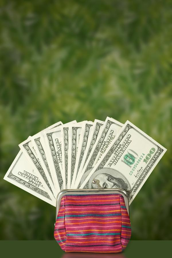 notes 100$ dans un portefeuille sur le contexte vert exotique photographie stock