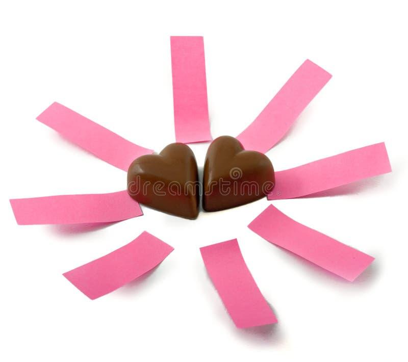 notes de coeurs de chocolat images stock