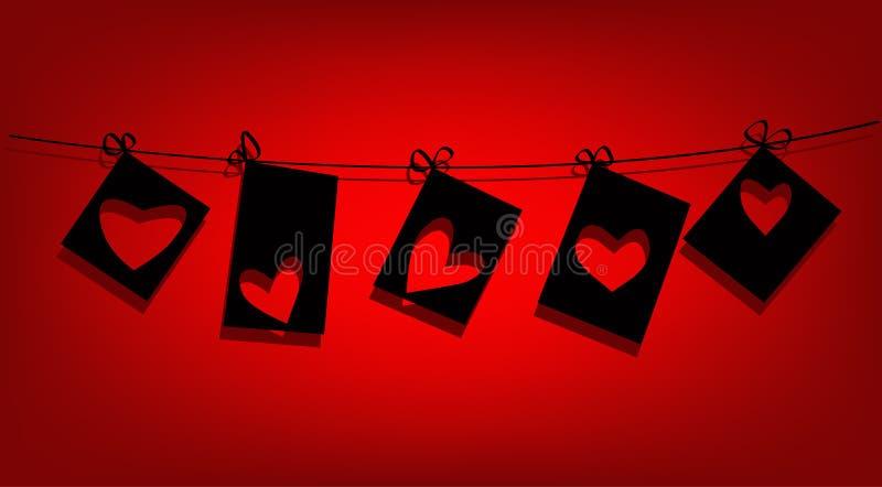 Notes de forme d'amour de Valentine illustration libre de droits