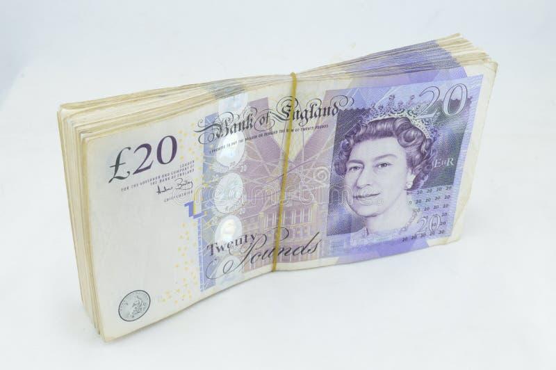 Notes de livre £20 photographie stock
