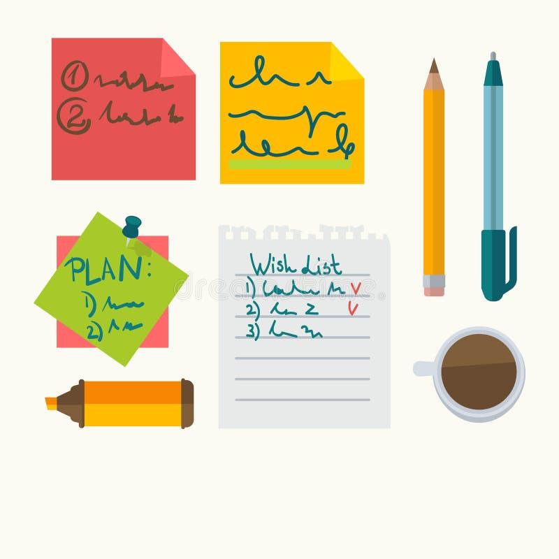 Notes de message de bureau et icônes de vecteur de papeterie illustration stock
