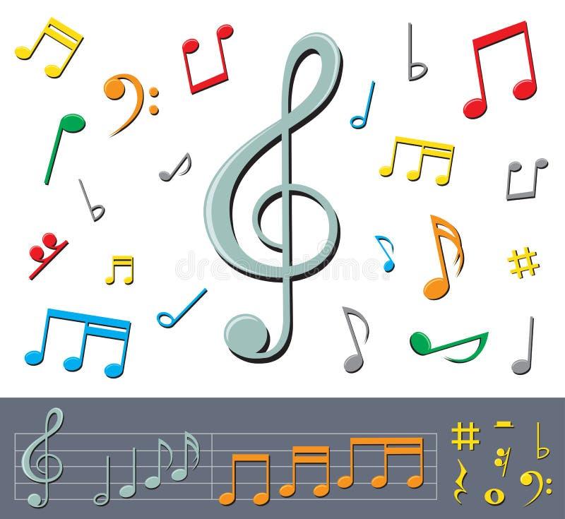 Notes de musique avec des ombres illustration libre de droits