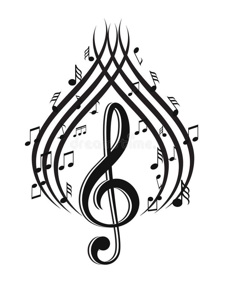 Notes de musique avec des vagues illustration stock
