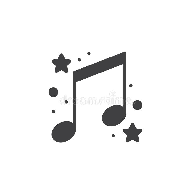 Notes de musique avec le vecteur d'icône d'étoiles illustration stock