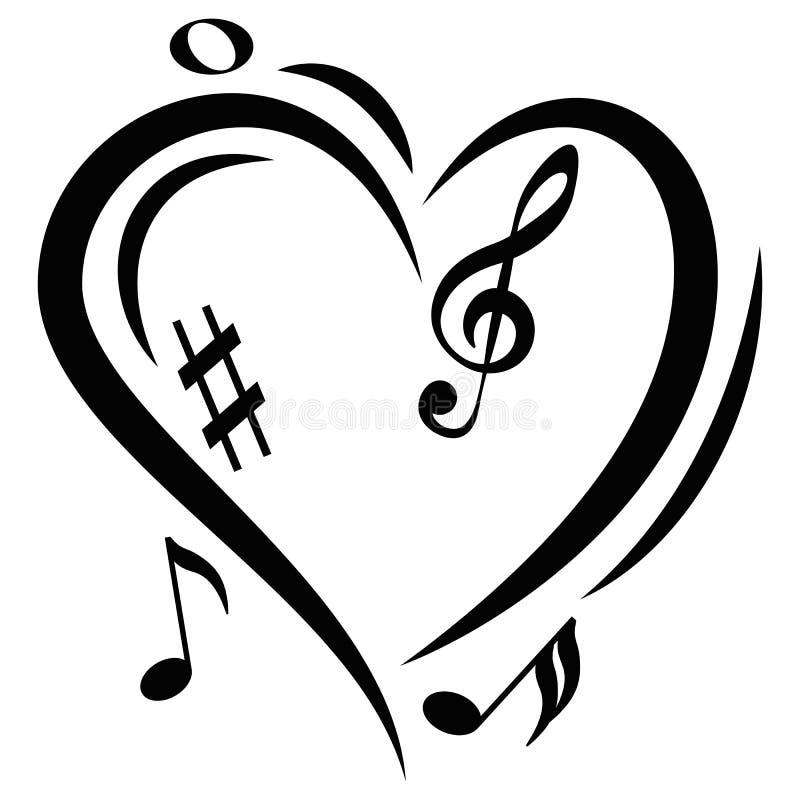 Notes de musique de coeur d'icône illustration de vecteur