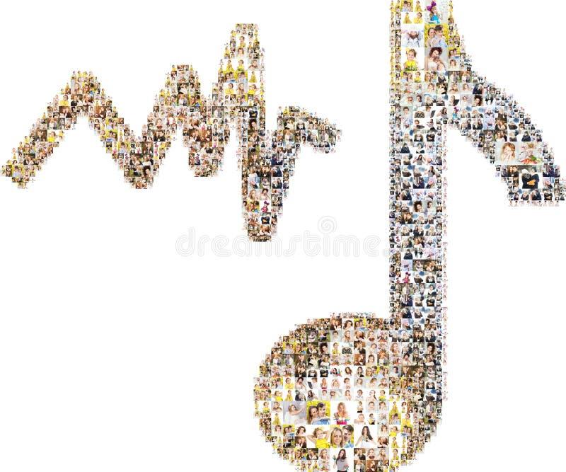 Notes de musique du collage des visages photos libres de droits