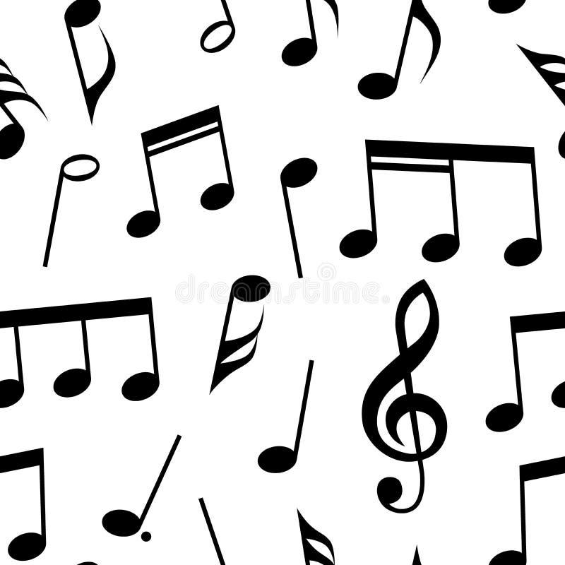Notes de musique et conception sans couture de modèle de symboles Couleur entièrement editable de suffisance et de fond illustration stock