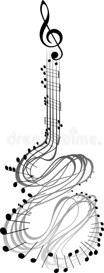 Notes de musique de guitare illustration libre de droits