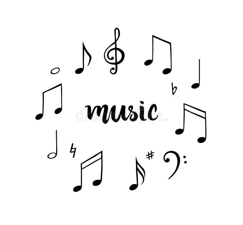 notes de musique réglées Illustration tirée par la main Symbole de mélodie illustration libre de droits