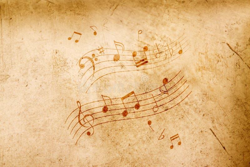 Notes de musique sur le fond antique image stock