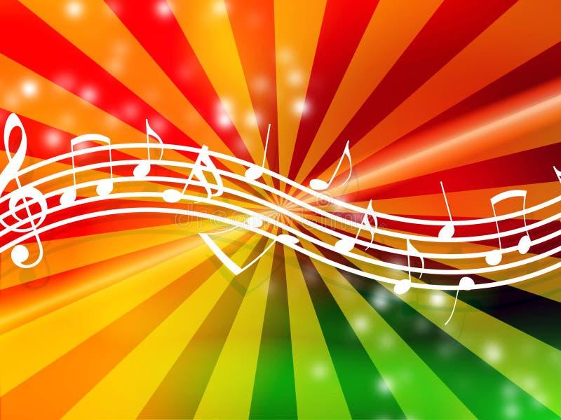 Notes de musique sur le fond rougeoyant illustration libre de droits