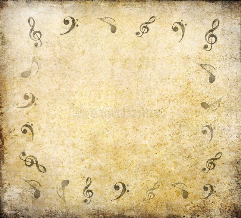 Notes de musique sur le vieux papier photos libres de droits
