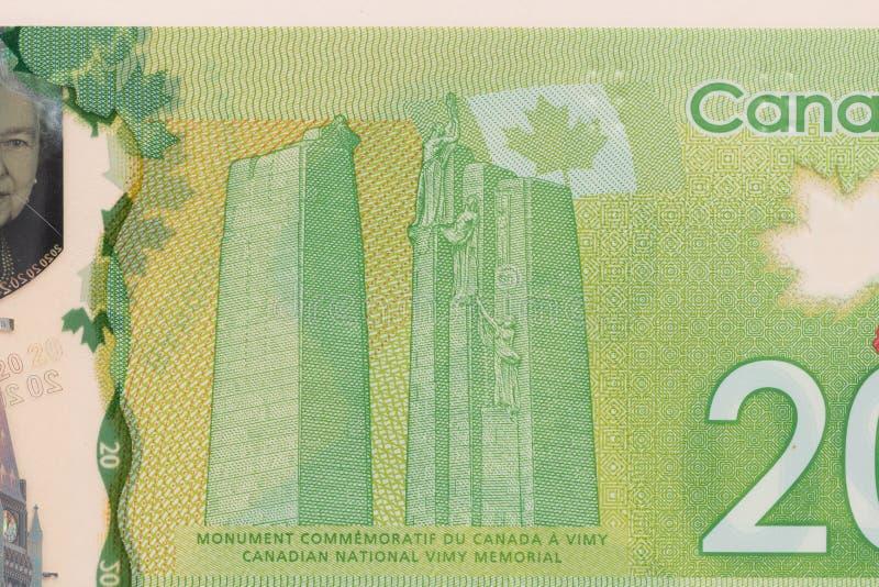 Notes de papier de Canada Dollar Tir haut étroit de détail photographie stock libre de droits