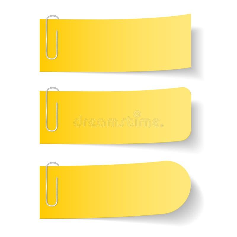 Notes de papier jaunes avec des agrafes illustration libre de droits