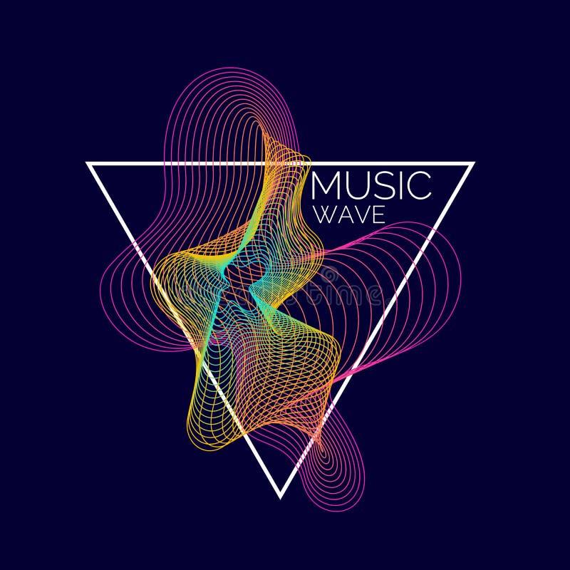Notes de piano (jpg+eps) Dirigez le fond abstrait avec les vagues dynamiques colorées illustration stock