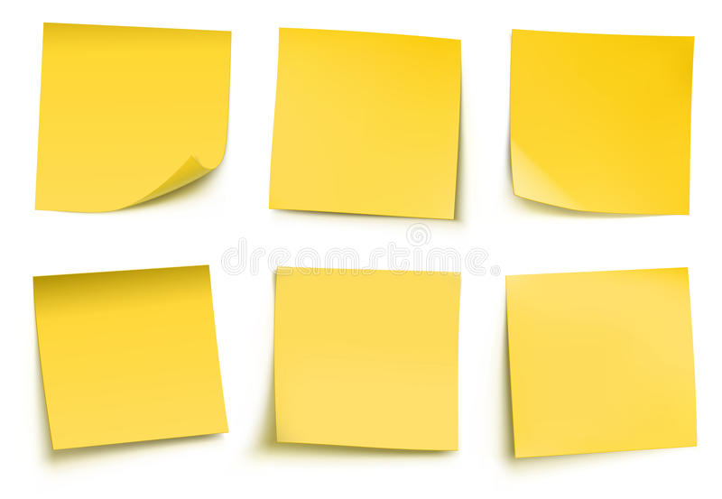 Notes de post-it jaunes illustration libre de droits