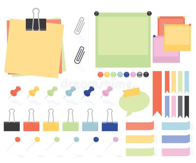 Notes et autocollants plats de papier de style illustration libre de droits