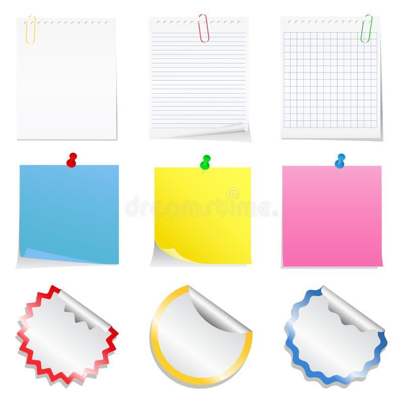 Notes et collants de papier illustration libre de droits