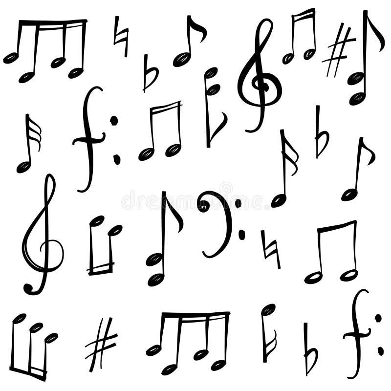Notes et signes de musique réglés Collec tiré par la main de croquis de symbole de musique illustration libre de droits
