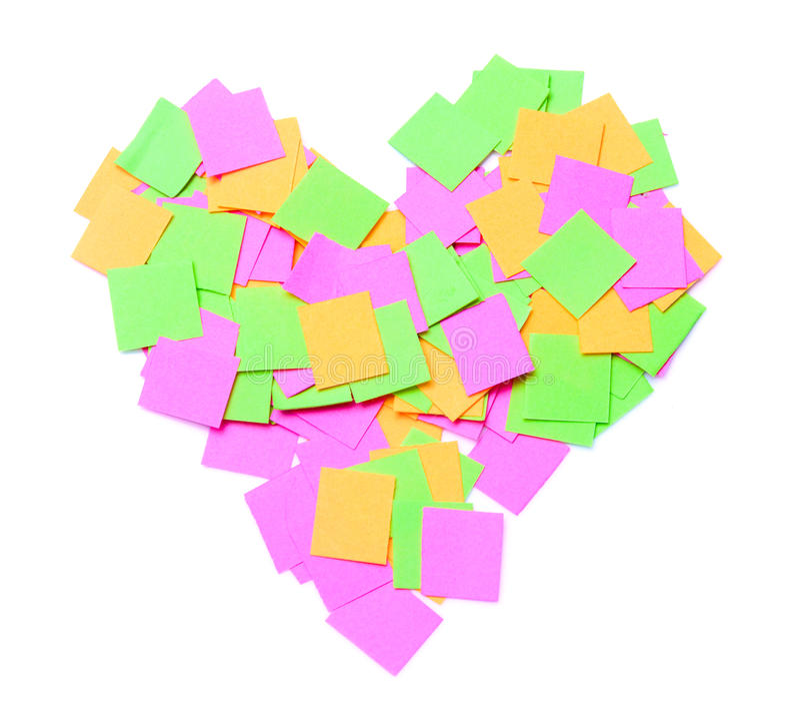 Notes in heart shape stock photos