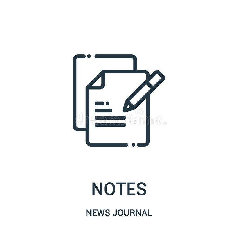 notes icon vector from news journal collection. Thin line notes outline icon vector illustration. Linear symbol for use on web and vector illustration