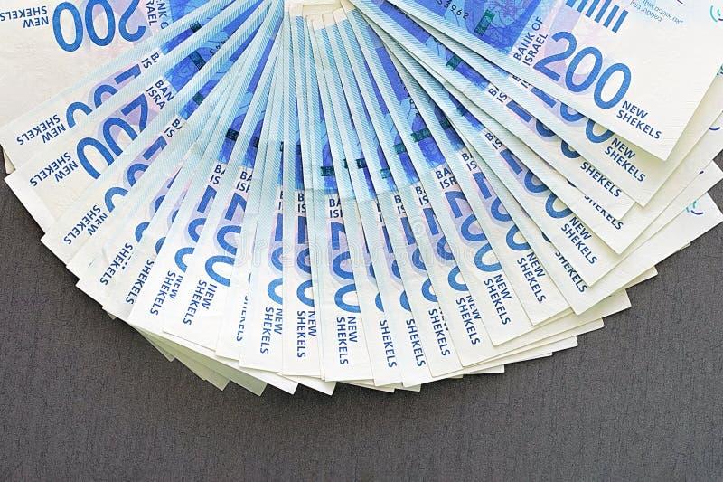 Notes israéliennes d'argent Fan des billets de banque de shekel photos stock