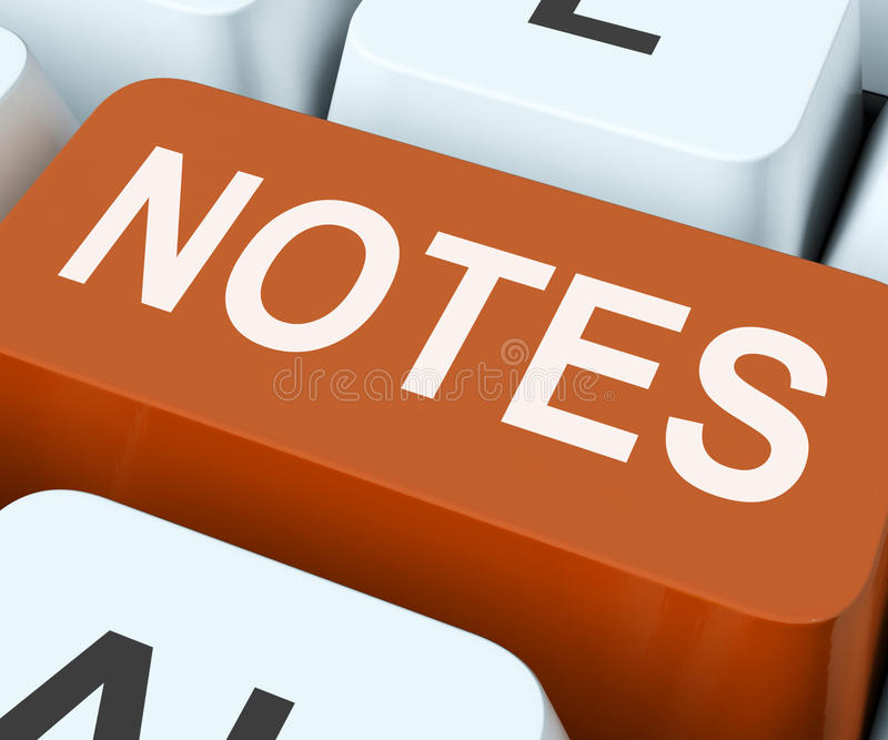 Notes Key Shows Information Reminders Or Info. Notes Key Showing Information Reminders Or Info royalty free stock photography