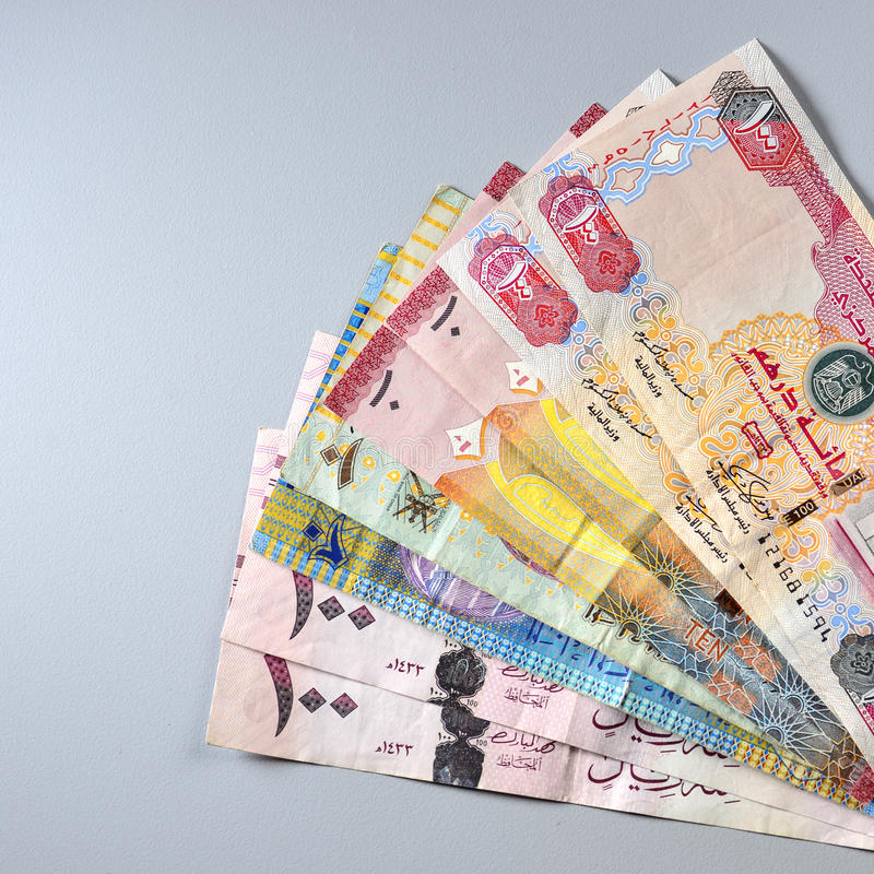 Notes mélangées de devise de pays du CCG Image courante photo libre de droits