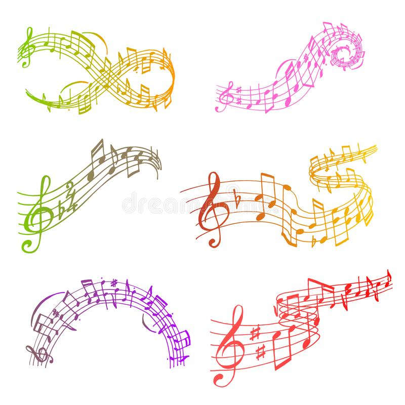 Free Notes Music Melody Colorfull Musician Symbols Sound Melody Text Writting Audio Symphony Vector Illustration Stock Images - 131159374