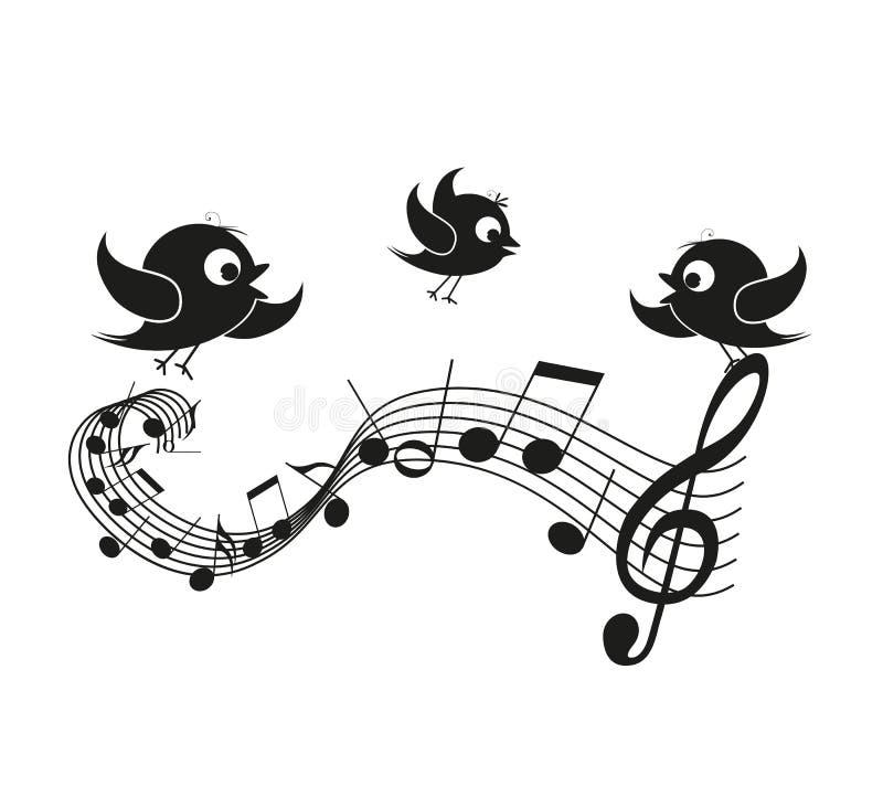 Notes musicales avec des oiseaux illustration libre de droits