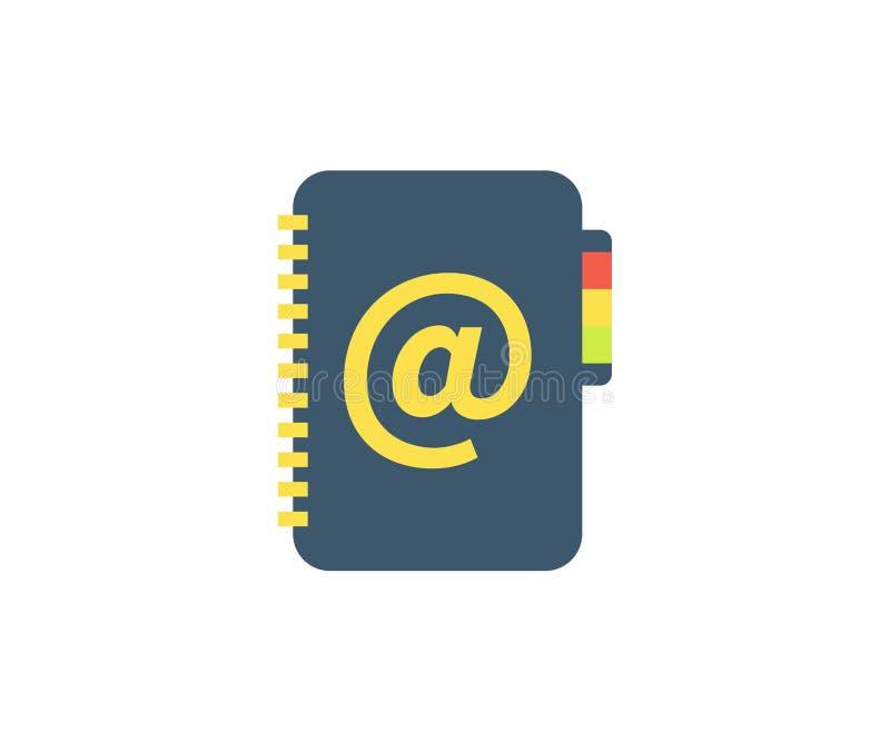 Notes na adresy ikona Wektorowa ilustracja w płaskim minimalisty stylu ilustracji