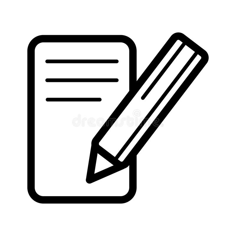 Notes and pan vector icon. Black and white note illustration. Outline linear business icon. vector illustration