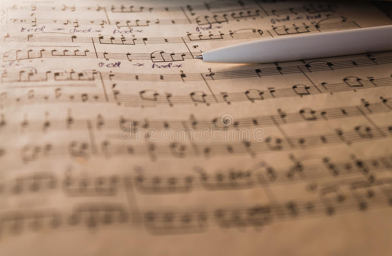 Download Notes and pen stock image. Image of closeup, musician - 18742423