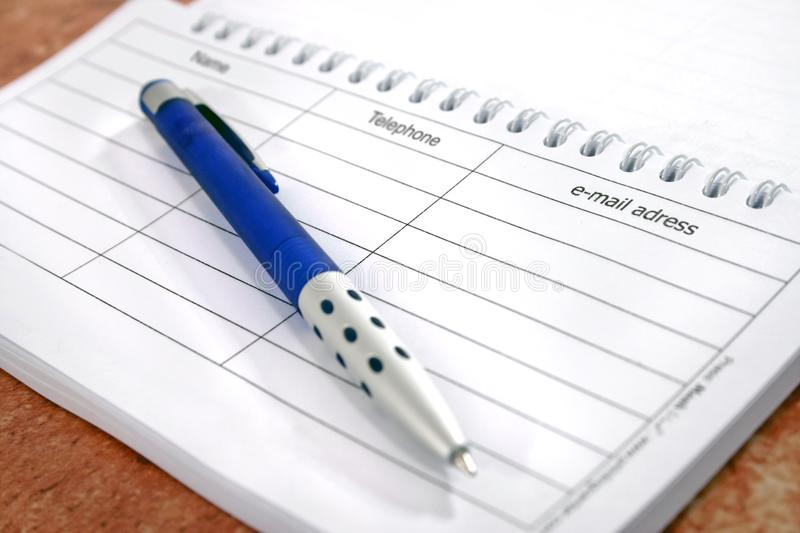 Notes and pen stock photography