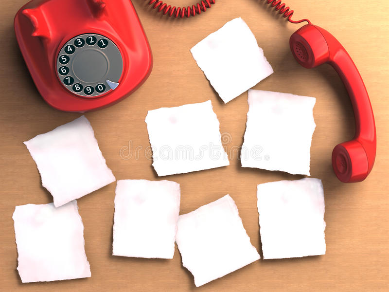 Notes. Phone off the hook and blank notes papers. Clipping path included on the blank notes stock image