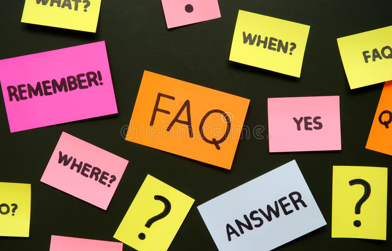Notes with questions and faq stock photography